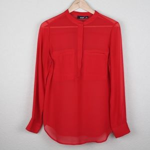 A.N.A | Sheer Red Long Sleeve Blouse